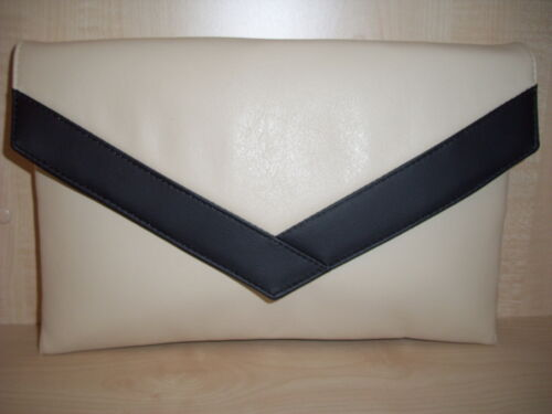 OVER SIZED CREAM AND BLACK faux leather envelope clutch bag fully lined BN
