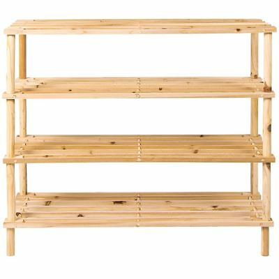 4 Tier Shoe Rack Slated Shelf Natural Wood Storage Holder Unit Organiser
