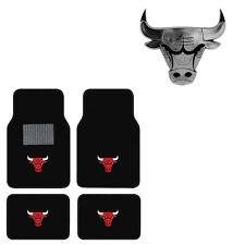 New 5pc NBA Chicago Bulls Car Truck Floor Mats & Chrome Emblem Set