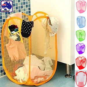 4x Foldable Pop Up Laundry Soiled Clothes Mesh Basket Hamper Storage Bin HBASK01