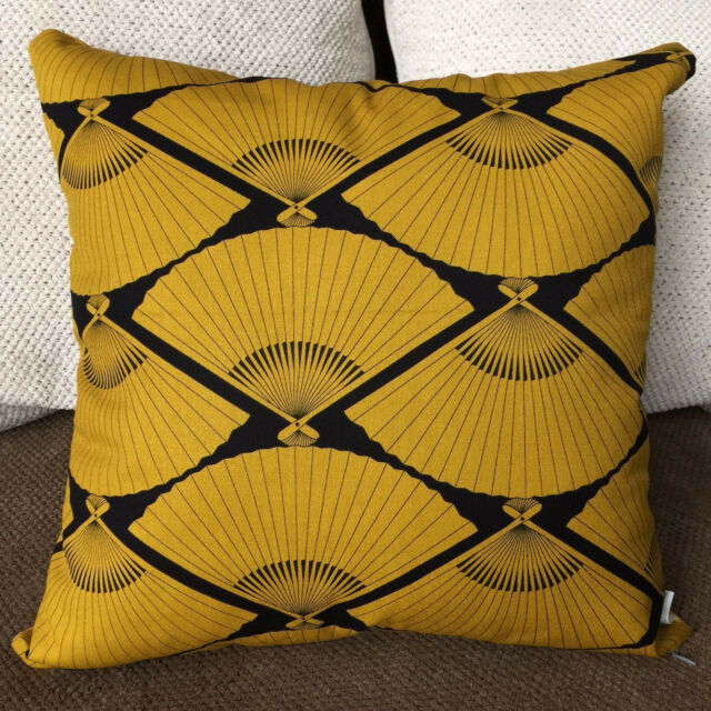 Pair of Japanese Fan Fang Shui pillow cover 18x18 mustard, white, black.