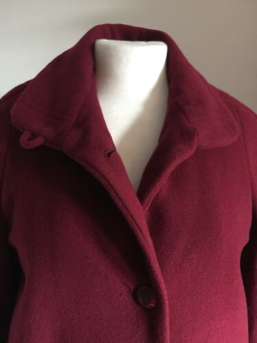 Bust 80 Blend Length Uk Preloved Soft Wine Knee coat Wool 12 38 Jacket OqCEpzxwE
