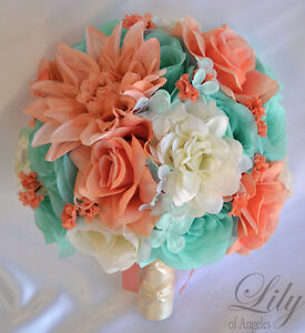 17 piece package silk flower wedding bridal bouquets coral robins image is loading 17 piece package silk flower wedding bridal bouquets mightylinksfo