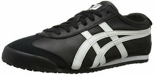 Onitsuka-Tiger-Womens-Mexico-66-Leather-Low-Top-Lace-Up-Black-White-Size-10-5