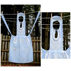 VTG-50-039-s-Lightweight-Cotton-Blue-Bib-Apron-White-Eyelet-Trim-Theater-Costume