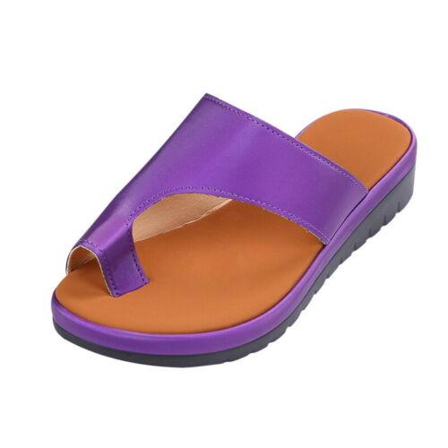 Femme Femmes PU Cuir Sandales De Plage Confortable Chaussures compensées pour oignon Correcteur