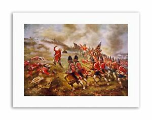 OIL-WAR-INDEPENDENCE-HILL-BRITAIN-USA-REDCOAT-MILITARY-Poster-Painting-Military