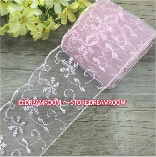 BF96 14.5 yards Bilateral Handicrafts Embroidered Flowers Net Lace Trim Ribbon
