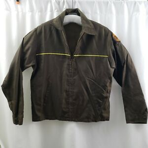 Yellow-Freight-System-Jacket-Brown-Windbreaker-Trucking-Vintage-USA-Mens-Large