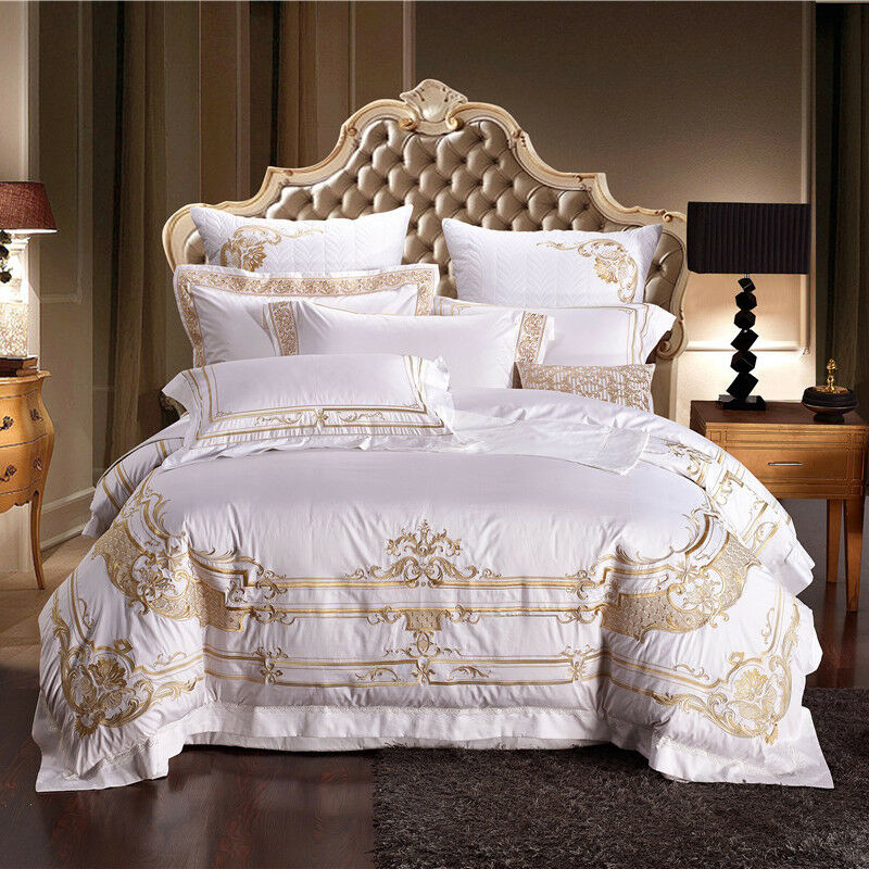 100% Egyptian Cotton bianca Royal oro Embroidery Duvet Cover Bedding Set DHL