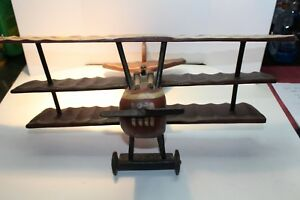 """Burgundy/creme Antiques Inventive Hand Made Carved Wooden Tri-plane 24"""" Wing Span"""