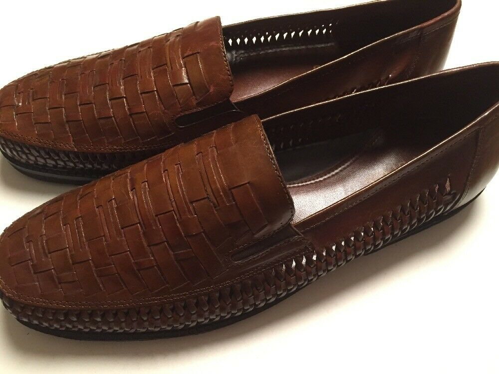 Mens 13 M Brown Leather Braided Moccasins Loafers Slip On shoes Soft Stags