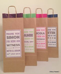 Personalised Wedding Paper Gift Bags : PERSONALISED PAPER WEDDING FAVOUR PARTY GIFT BAG **BOTTLE BAGS** Brown ...