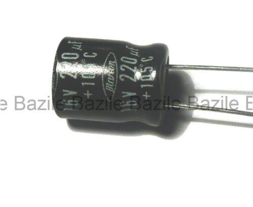 5 x Condensateur 220uF//16V radial 105°                               #CHRT16220U