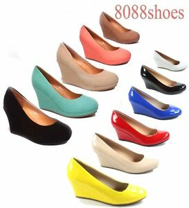 Women-039-s-Office-Causal-Cute-Round-Toe-Wedge-Platform-Heel-Shoes-Size-5-10-NEW