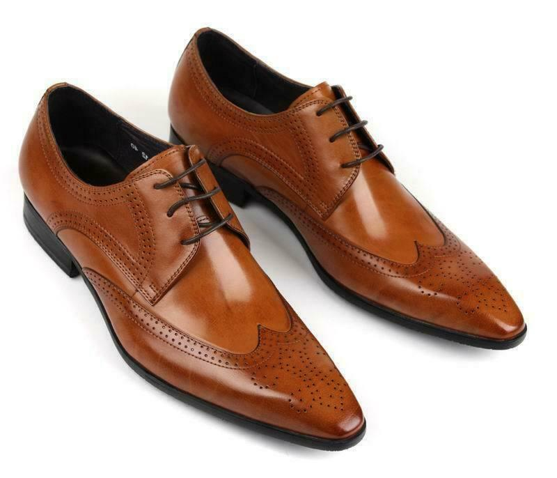 Mens Business Dress shoes Lace up Formal FlatsReal  Cow Leather Flats Pointy Toe