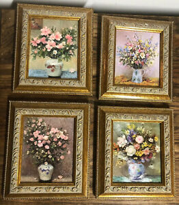 Set-of-4-Floral-Prints-in-Gold-Frames-Approx-4-x-4-75-Victorian
