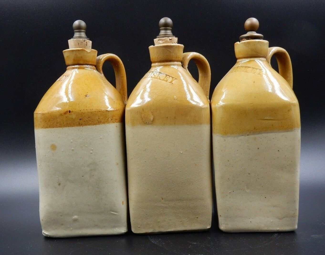 SET OF 3 HANDMADE PORCELAIN BAR SPIRIT DECANTERS WITH BRASS AND CORK STOPPERS
