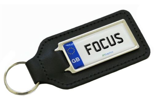 FOCUS Private Reg GB White Number Plate Leather Keyring for FORD FOCUS Owners