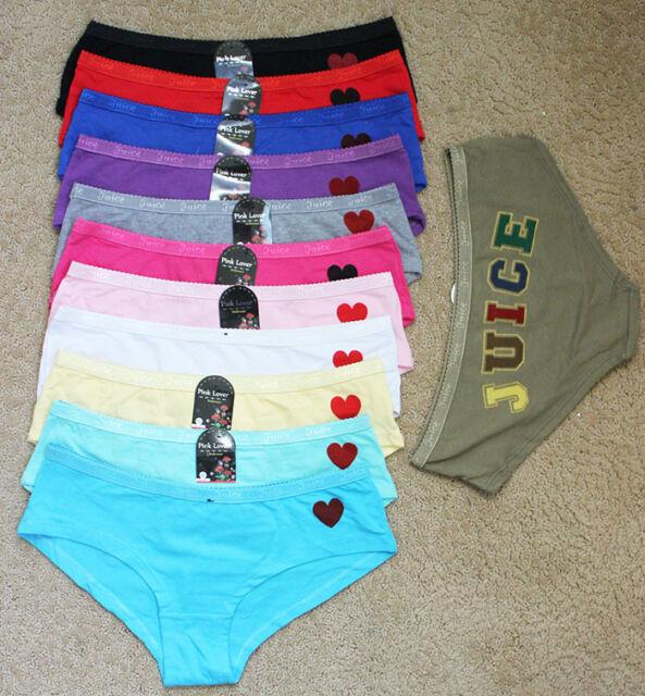 Juice Quality Lot Cute Trim Plain Front Love Heart Cotton Spandex Panty S/M/L/XL