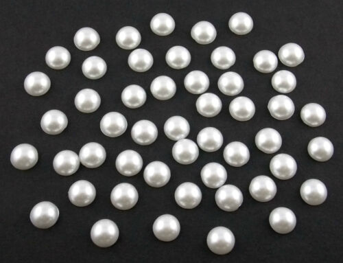 Halbperlen rund 8 mm weiß 50 Stück lose Halbperlen