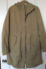 Uniqlo Hooded Parka Jacket Zipper Drawstring S Cotton Blend Khaki Tan Beige