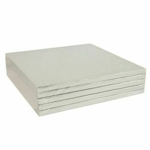 BULK 5 Pack Round /& Square Silver Cake Drum Boards 12mm Thick Birthday Wedding