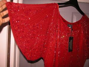 rosso Busto corto vestibilità con chiffon corte maniche in corto ampia 48 vestitino r1R7qwrY