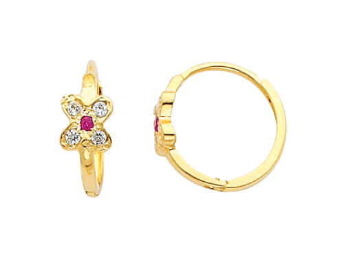 14K Yellow Gold Flower CZ Huggies Earrings for Baby and Children