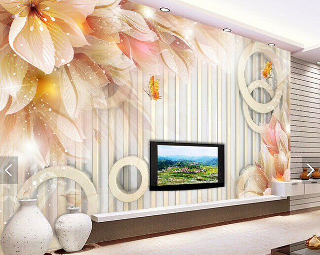 3D Flowers Bright Light 66 Wall Paper Wall Print Decal Deco Indoor Wall Mural CA