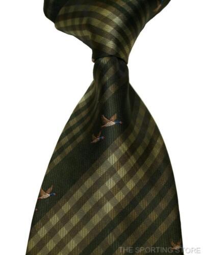 Bisley Handgemacht Doppel Fliegende Enten Jagd Krawatte IN Grün
