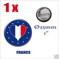 Badge Ø25mm Pays de l'europe des 28, drapeau en forme de coeur FRANCE