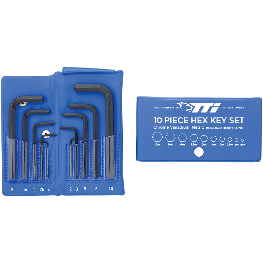 TTI METRIC HEX KEY SET 00202MS 10 Pieces+Wallet, 1.5-10mm, Chrome Vanadium Steel