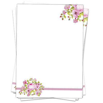 50 Blatt Briefpapier Set DIN A4 Motivpapier Bastelpapier rosa Blumen Frühling 2