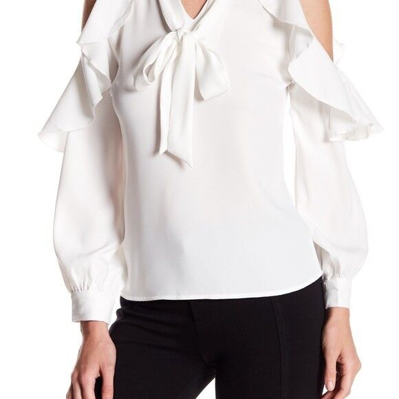 Gracia Weiß Ruffle detail V-neck Cold Shoulder Blouse Größe M