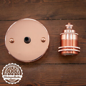 Vintage-Light-Fittings-Set-Copper-Pendant-Lamp-Holder-E27-B22-6-Variations
