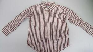Gymboree-Fair-Isle-Reindeer-Red-White-Pinstriped-Shirt-Christmas-L-S-5-6-TL25