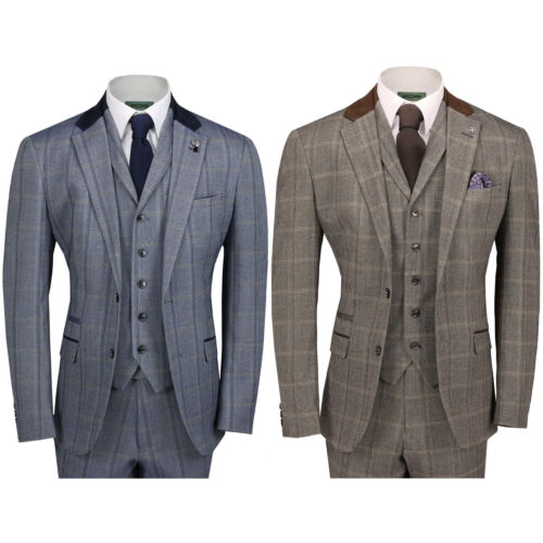 Mens Tweed Check 3 Piece Suit Brown Blue Vintage Herringbone Smart Tailored Fit