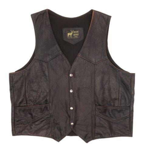 Vintage WESTERN Leather Motorcycle Vest 3XL XXXL M