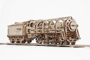 Details About Ugears Steam Locomotive With Tender Mechanical Wooden Train Model Kit 70012