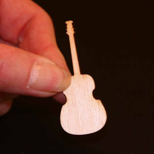 Guitar Shape - 2 inch x 1-1/4 x 1/8 inch unfinished wood (GUIT01)