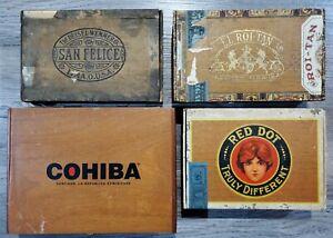 Vintage-Cigar-Box-Lot-Red-Dot-Wooden-San-Felice-El-Roi-Tan-Plus-Cohiba-Bundle