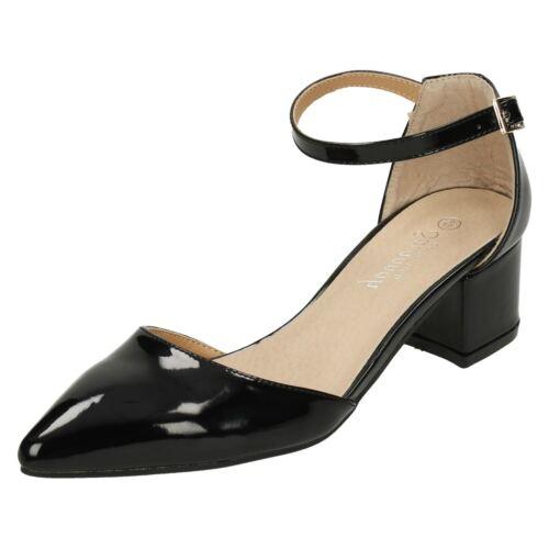 LADIES WOMENS SAVANNAH ANKLE STRAP MID BLOCK HEEL BLACK PATENT COURT SHOES F9961