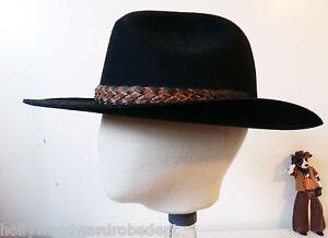 63a5df008d278 Shady Brady Cowboy hat vtg xl black WOOL stiff leather braid band ...