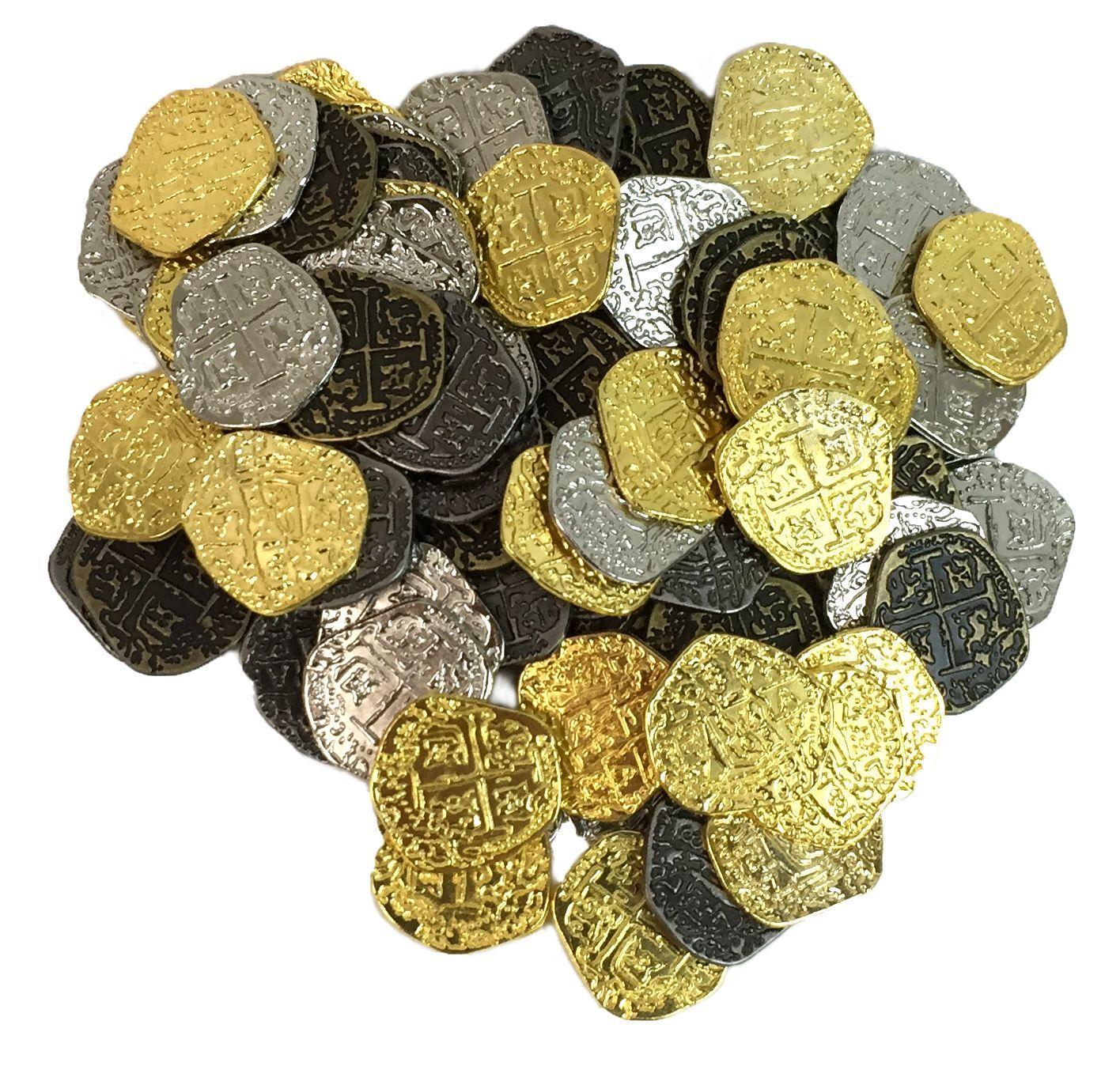 Metal Pirates Trésor Pièces-Set de 500 or et argent Doubloon replicas