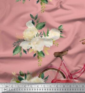 Soimoi-Fabric-Austin-Roses-amp-Bicycle-Transport-Print-Fabric-by-the-Yard-TT-3H