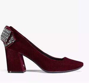 Tory-Burch-Josephine-Bordeaux-Velvet-Embellished-Pump-New-490-10-5-M