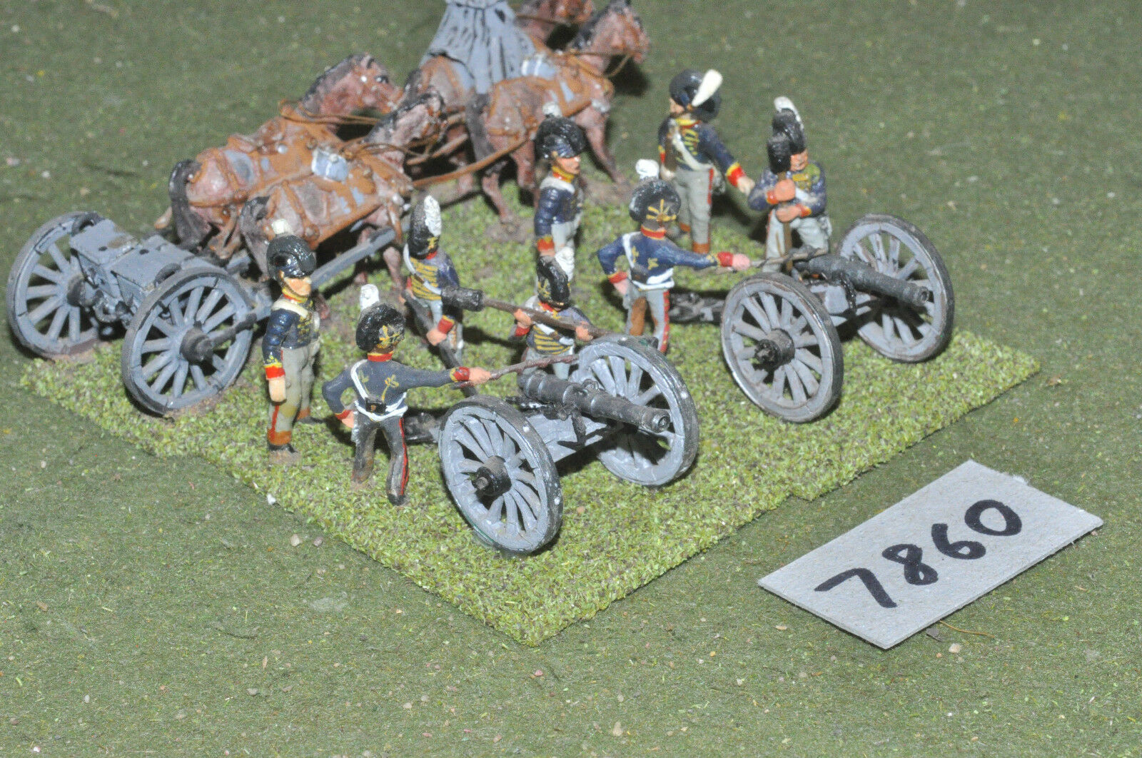 25mm napoleonic   british - artillery 2 guns limber painted metal - art (7860)