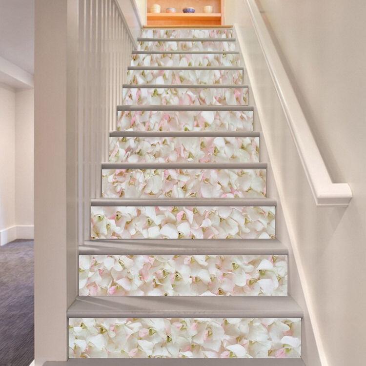 3D blanc Petals 73 Stair Risers Decoration Photo Mural Vinyl Decal Wallpaper CA