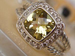 $650 David Yurman, Ss Albion Petite Lemon Citrine Diamant Ice Ring Sz7-afficher Le Titre D'origine